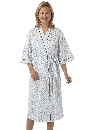 Ladies Floral Kimono Wrap, Cotton Dressing Gown Robe Nightwear MN18 ...