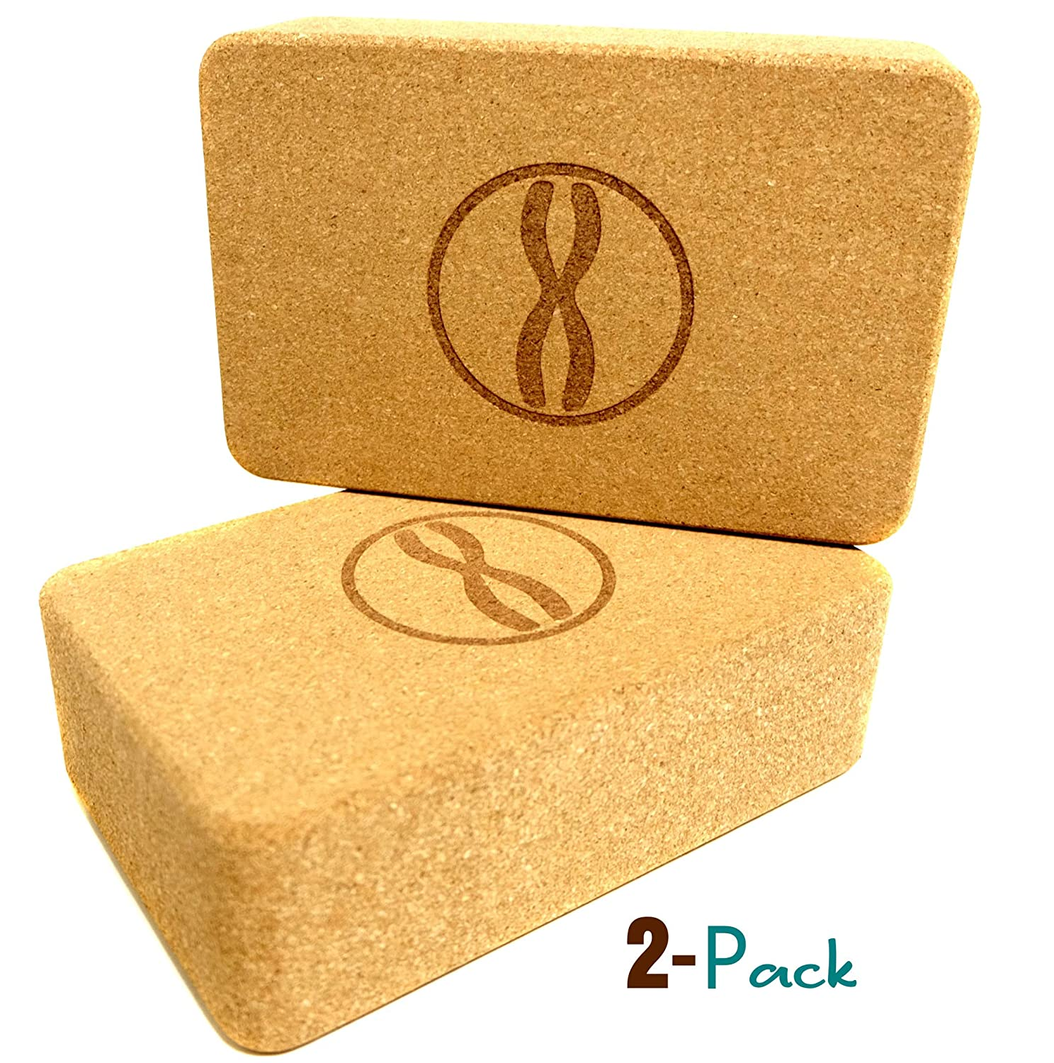 Heala Cork Yoga Blocks 2 Pack Set | Better Than Foam Brick | Natural Non-Toxic and Eco-Friendly | Equipment and Accessories Gear for Exercise ...