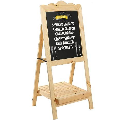 Amazon.com : Natural Wood A-Frame Chalkboard Easel Message Board ...