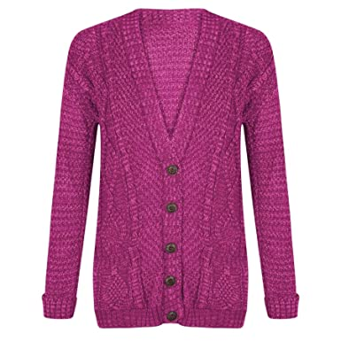 c263a4343b5d Womens Long Sleeve Chunky Cable Knitted Front Buttons Pockets Grandad  Cardigan HOT PINK-S/