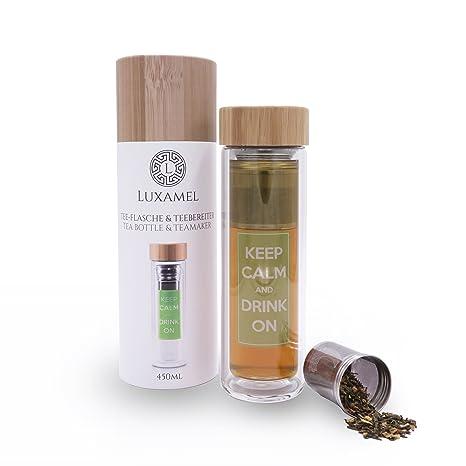 Té botella de cristal tetera tetera Botella Infusor té Tea Maker Coffee to go de doble pared taza térmica con filtro bambú Tapa Diseño Detox sin BPA ...