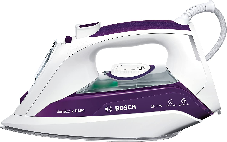 Bosch TDA5028020 Sensixx'x DA50 - Plancha de vapor, 2800 W, Color violeta y blanco