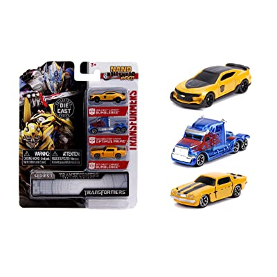 "Jada Toys Transformers Nano Hollywood Rides 2016 Chevy Camaro Bumblebee, Western Star 5700XE Optimus Prime and 1977 Chevy Camaro Bumblebee, 1.75"" Die-Cast Vehicles: Toys & Games"
