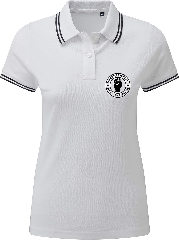 EBUK Northern Soul Keep The Faith Casual Mod Ladies Womens Premium Polo Shirt Unofficial