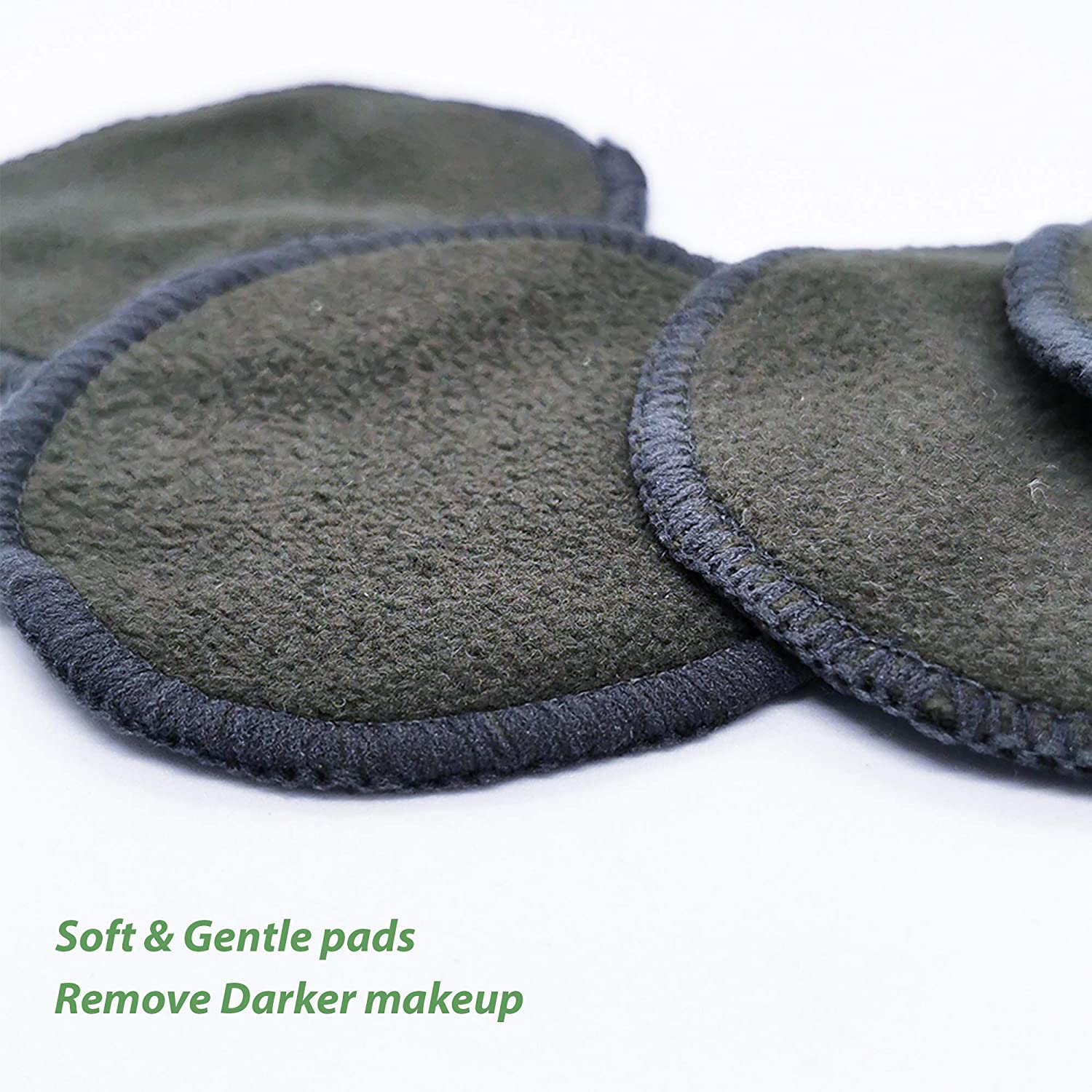 Bamboo Makeup Remover Pads- Kraft Paper Packaging- Zero Waste Darker Makeup Pads 6Pcs Black Reusable Cotton Pads- Bamboo Charcoal Reusable Cotton Wool Pads Eco Friendly Products-Free Ebook