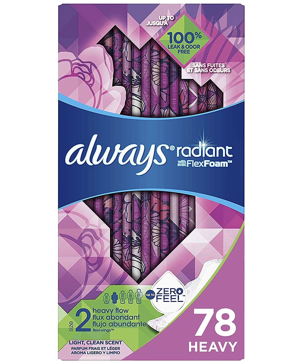 Always Radiant Feminine Pads for Women, Size 2, 78 Count, Heavy Flow Absorbency, with Flexfoam Wings, Light Clean Scent, 26 Count, Pack of 3 - 78Count Total)