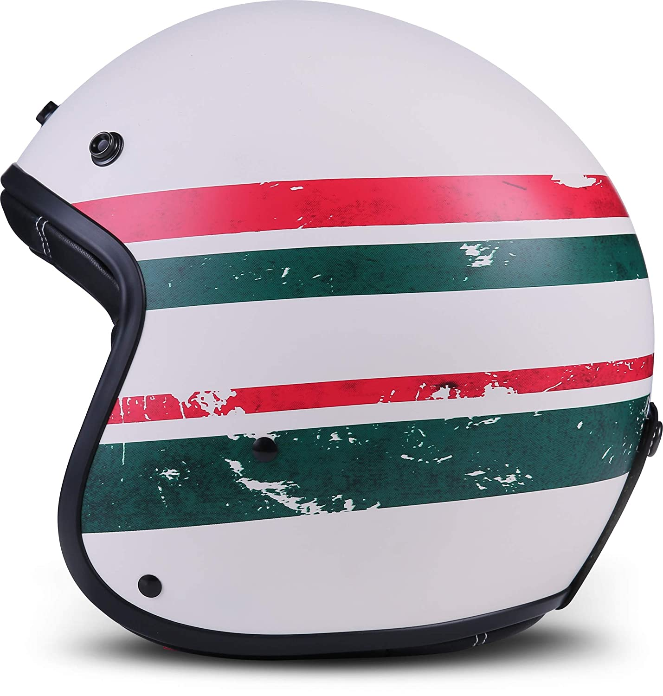 "Rebel R9 /""Deer/"" /· Jet-Helm /· Motorrad-Helm Roller-Helm Scooter-Helm Bobber Mofa-Helm Chopper Retro Cruiser Vintage Pilot Biker Helmet Brille Visier Helmet /· ECE Fiberglas SlimShell Tasche S 55-56cm"