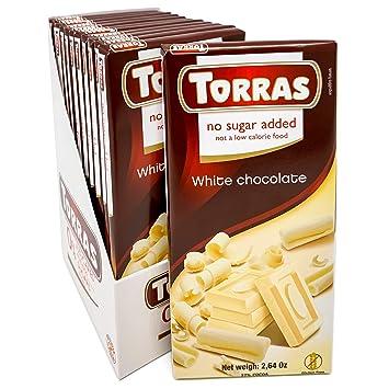 Torras Sugar Free and Gluten Free White Chocolate Bar - White Chocolate (12 Pack)