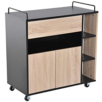 Terrific Homcom Rolling Kitchen Storage Trolley Cart Cupboard Island Cabinet Shelves 2 Handle With Locking Wheels Home Remodeling Inspirations Propsscottssportslandcom
