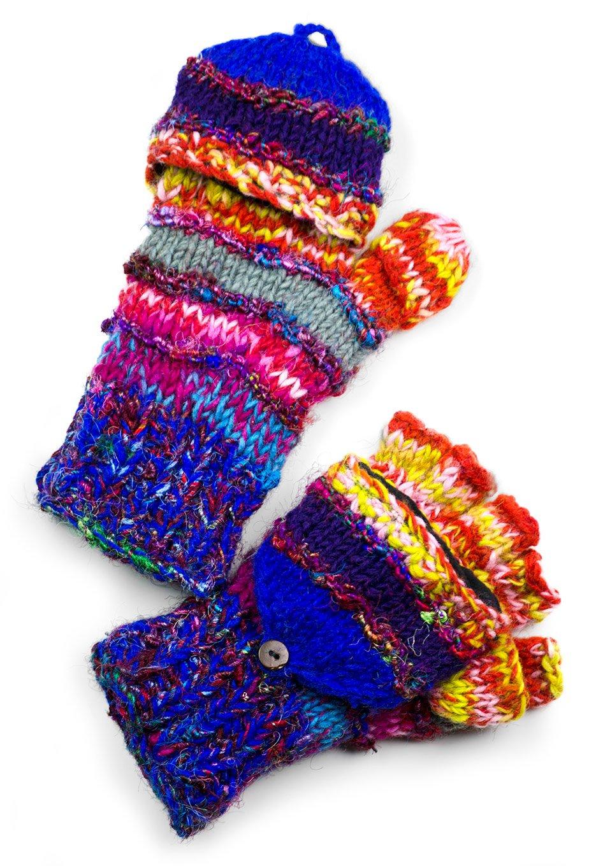 TCG Women's Hand Knit Wool Striped Glittens - Mega-Multi-Colored