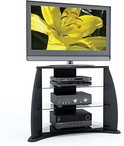 Sonax Florence 34-Inch Midnight Black TV Stand with Glass Shelves