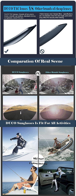 7de258d3b2 Duco Men s Driving Sunglasses Polarized Glasses Sports Eyewear Fishing Golf  Goggles 8179S Black  Amazon.ca  Clothing   Accessories