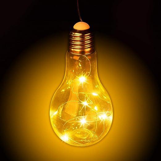 Relaxdays Transparent Glühbirne Hängen Batteriebetriebene Led Deko Kabellose Glühlampe Mit Lichterkette