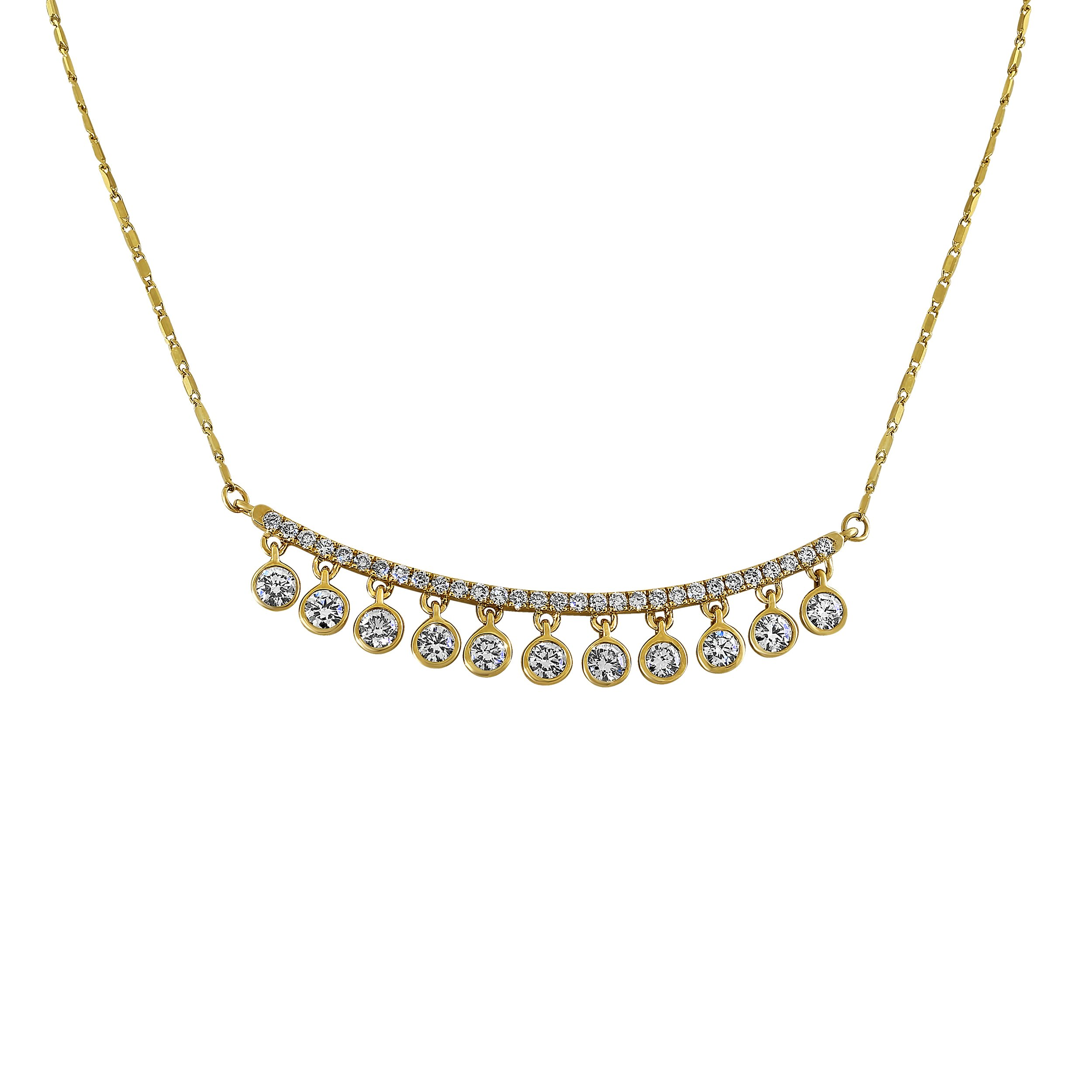 14k Yellow Gold Bar and Pear Shaped Drops Diamond Necklace (1 cttw, H-I Color, I1 Clarity) 16'' - 18''