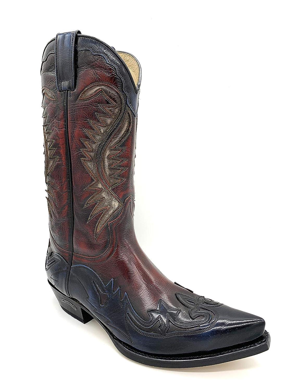Sendra Stiefel Western Cowboystiefel Biker Stiefel Exklusiv & Limitiert Blau Rot