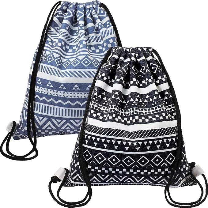 Amazon.com: 2 piezas de lona con cordón mochila para mujer ...