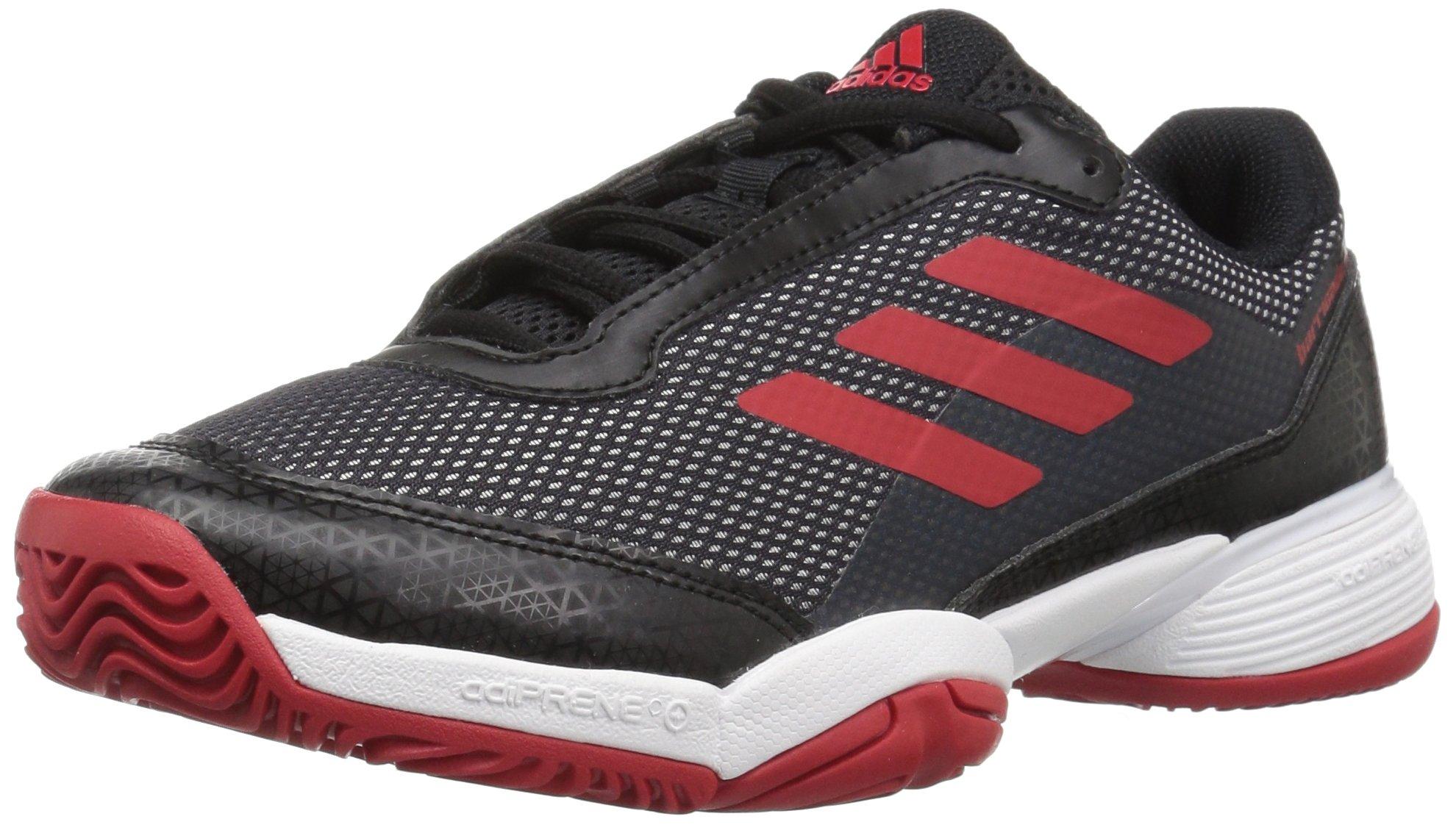 adidas Unisex Barricade Club Tennis Shoe, Black/Scarlet/White, 6 M US Big Kid