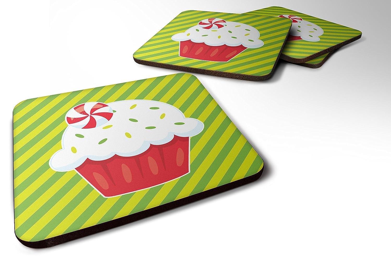Caroline 's Treasures bb6819fc 4クリスマスPepermint Cupcake FoamコースターのセットSet of 4、3 1 / 2 x 3 1 / 2、マルチカラー   B06ZYXZ8DM