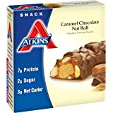 Atkins Snack Bars, Caramel Chocolate Nut Roll, 1.5 Ounce, 5 Count