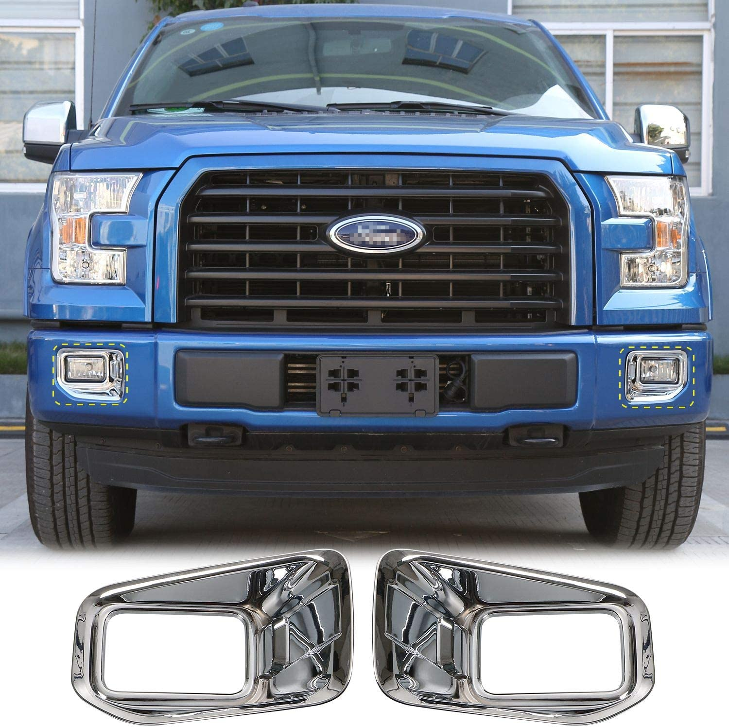 Car ABS Front Fog Light Lamp Decoration Cover Trim for Ford F150 XLT 2015-2017 Chrome