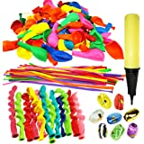 Joyin Toy 180 Pieces Party Balloons Assorted Color Latex Balloons 3 Style with Hand Held Air Inflator and 8 colors of Crimped Curling Ribbons