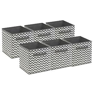 Sorbus Foldable Storage Cube Basket Bin, 6 Pack,Chevron Pattern (Gray)