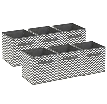 Awesome Sorbus Foldable Storage Cube Basket Bin, 6 Pack,Chevron Pattern (Gray)