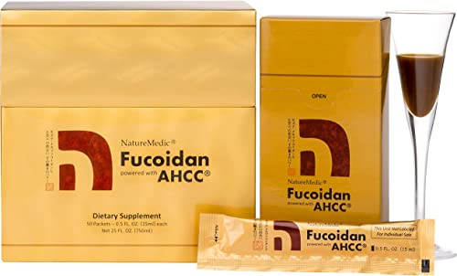 NatureMedic Fucoidan AHCC Brown Seaweed Immunity Supplement with Organic Mekabu Mozuku Agaricus 50 Liquid Packets Box Made in Japan New Package 1Pack