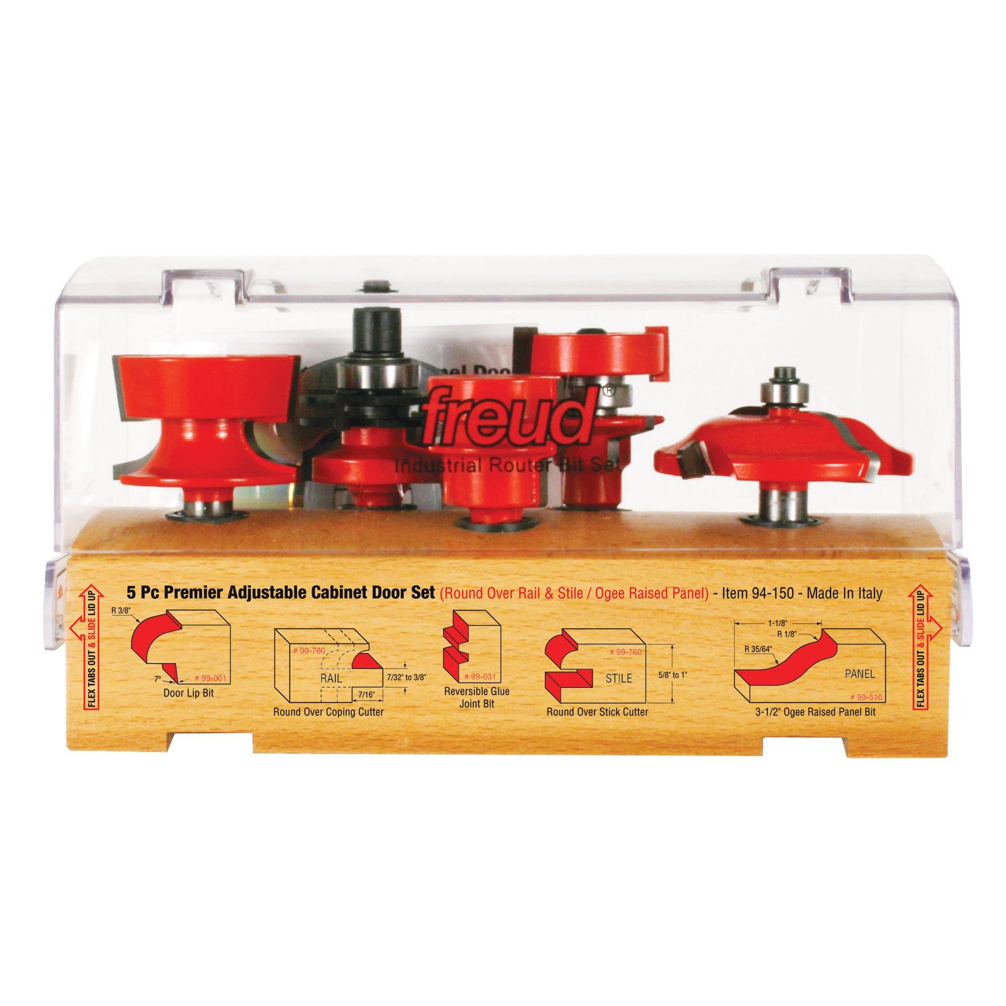 Freud 5 Piece Premier Adjustable Cabinet Bit Set (1/2'' Shank) (94-150)