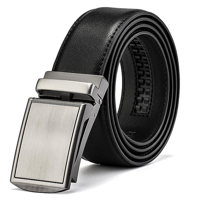 Bostanten Cinturón Cuero Para Hombres Cinturones Piel Automática Hebilla Negro HeEoCL