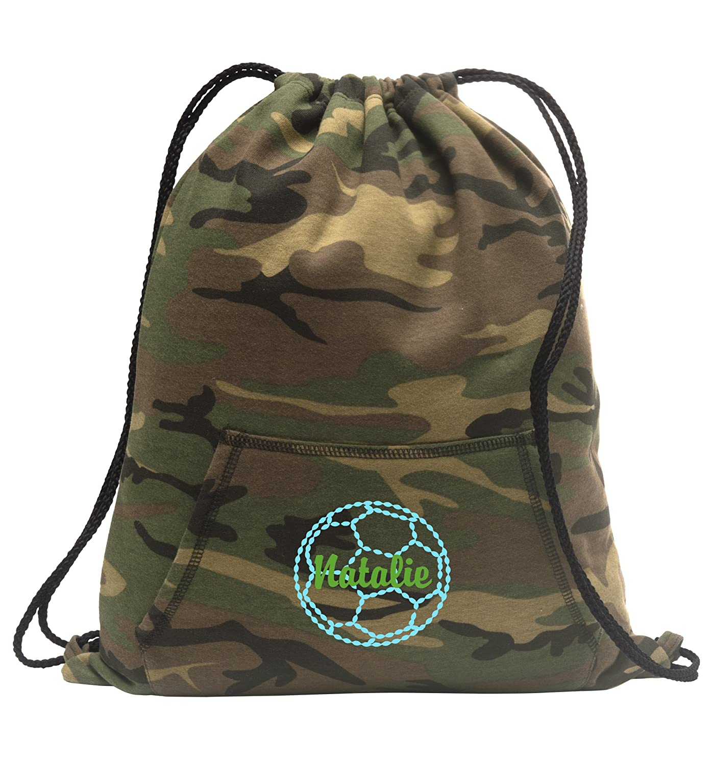 Personalizedサッカー – スウェットシャツCinch Bag with Front Pocket B01LZW3W0N Military Camo Military Camo