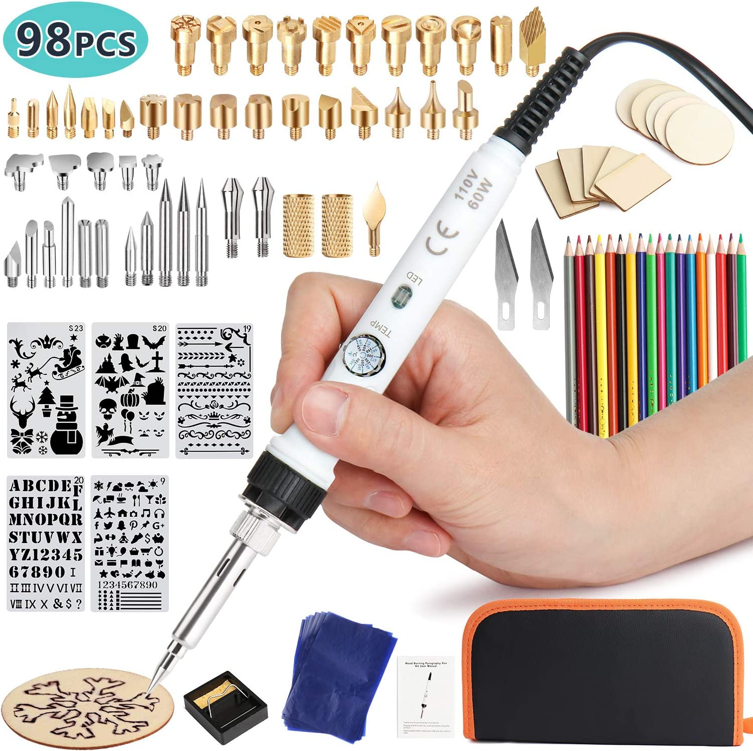 302-842℉ 150~450 ℃ Professional Wood Burning Tool 98Pcs Wood Burning Kit Adjustable Thermostatic Digital-Controlled Pyrography Pen Kit Tool