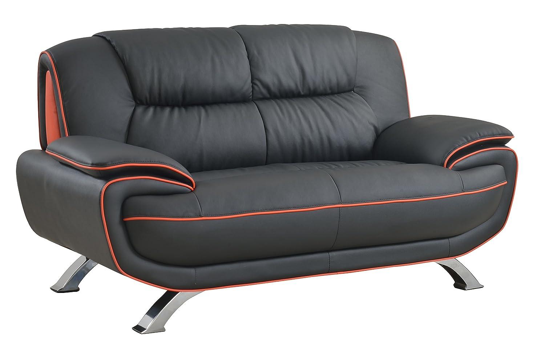 Brilliant Amazon Com Blackjack Furniture 405 Black L Loveseat Leather Pabps2019 Chair Design Images Pabps2019Com
