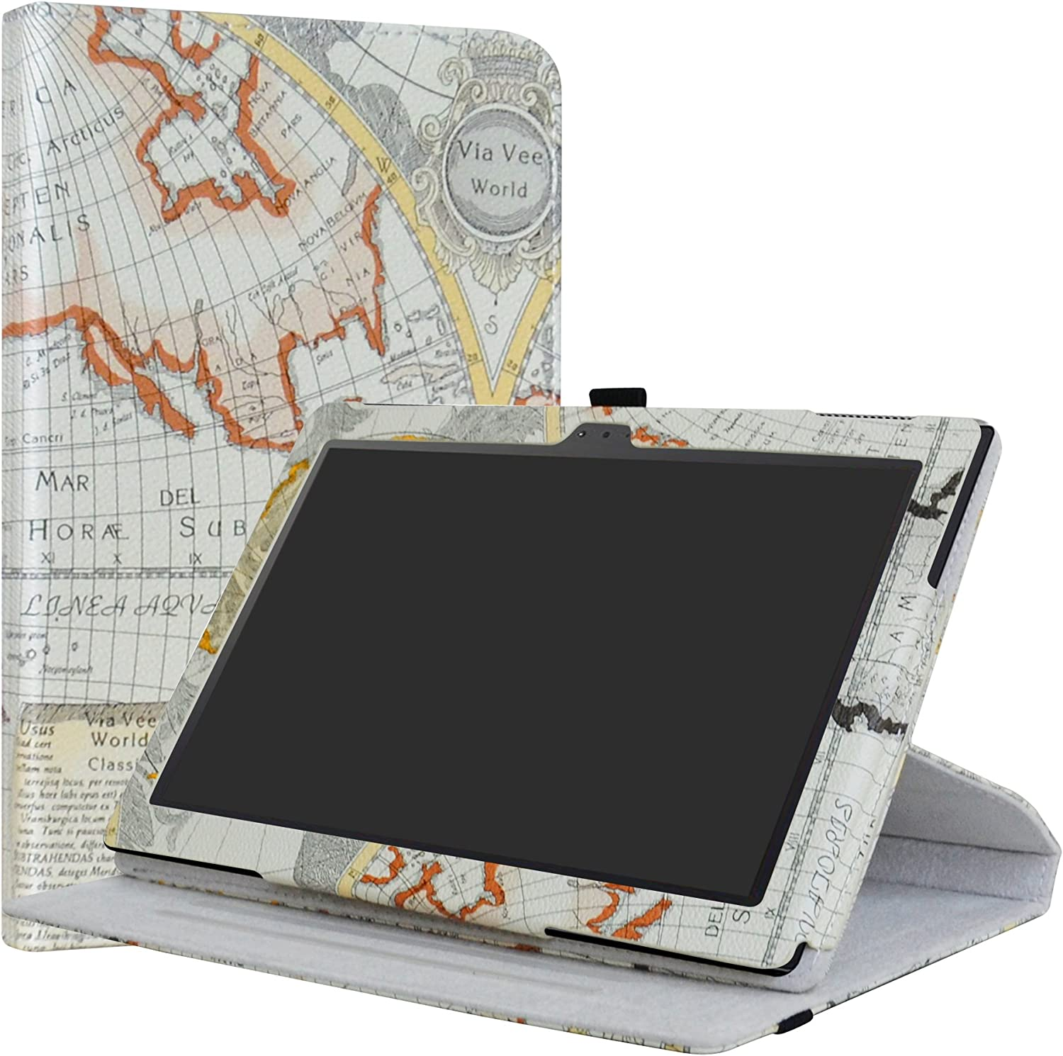 """Lenovo Tab 4 10 Case,LiuShan 360 Degree Rotation Stand PU Leather with Cute Pattern Cover for 10.1"""" Lenovo Tab 4-10 Inch (Not fit Lenovo Tab 4 10 Plus) Android Tablet,Map White"""