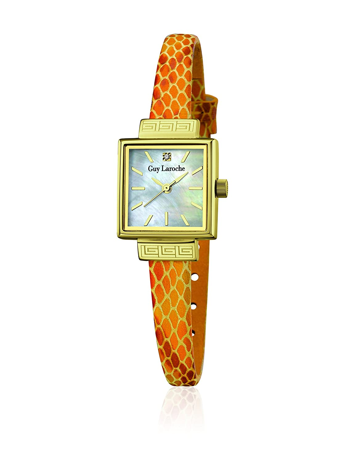 GUY LAROCHE Damenuhr - L5010-03 - Edelstahl gold - Lederband orange