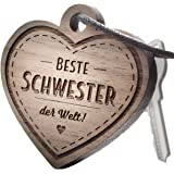 """Schlüsselanhänger aus Holz mit Gravur """"Beste Schwester"""""""