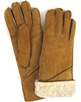 Ladies Full 100% Sheepskin Glove with Long Folding Cuff. Tan. (Sizes: Small to XLarge)