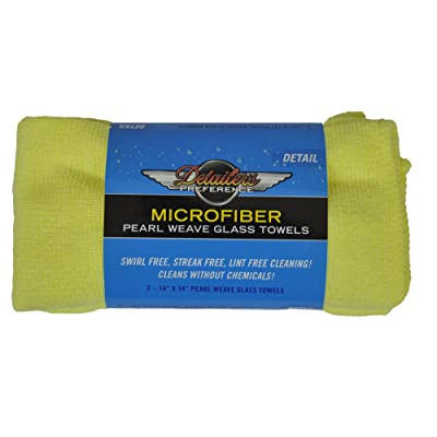 Detailer's Preference Eurow Microfiber Glass Cleaning Towel, 14in X 14in (2 Pack): Automotive