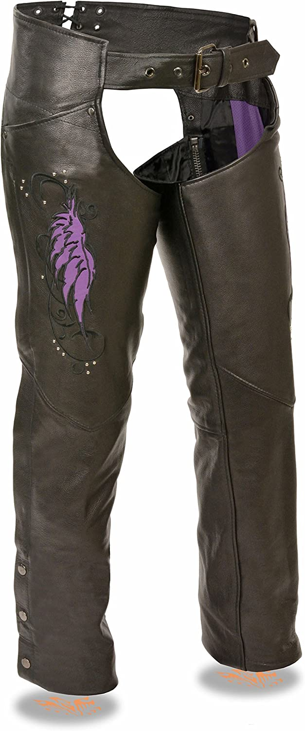 M Milwaukee Leather Ladies Leather Chap w// Wing Embroidery And Rivet Detailing