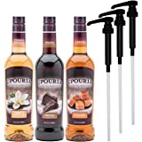 Upouria Coffee Syrup Variety Pack - French Vanilla, Mocha, and Caramel Flavoring, 100% Gluten Free, Vegan, and Non Dairy, 750