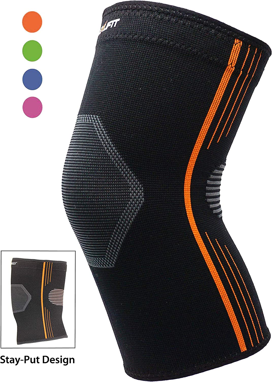 Premium Compression Knee Brace Sleeve for Hiking Stay-Put Breathable Knee Support for Running Basketball Crossfit Squats Lifting Arthritis Torn Meniscus - 4 Colors (Orange, Medium Single)