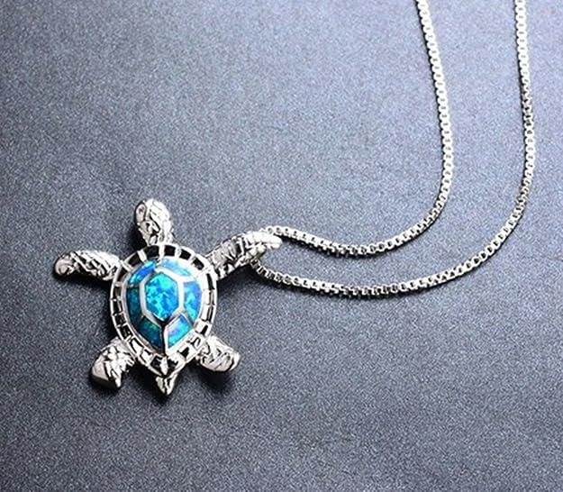 Fortonatori Created Blue Opal Starfish Necklace Turtle 925 Silver Pendant Necklace 18 Chain