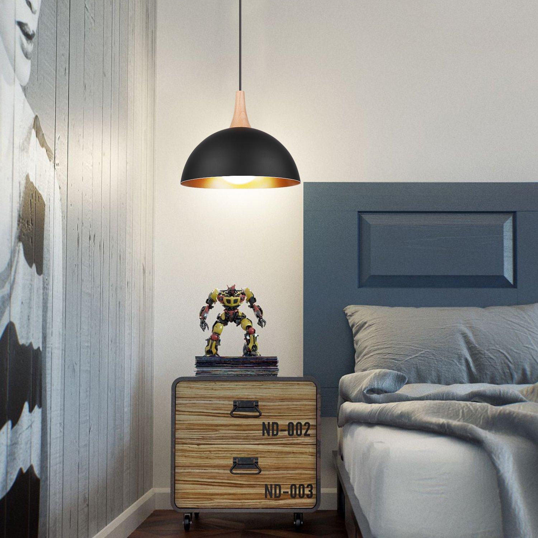 DECKEY Designklassiker 2x Pendelleuchte H/ängeleuchte nordischer//skandinavischer Still /Φ 30cm f/ür E27 Leuchtmittel schwarz f/ür Wohnzimmer Esszimmer Restaurant Keller Untergeschoss usw.