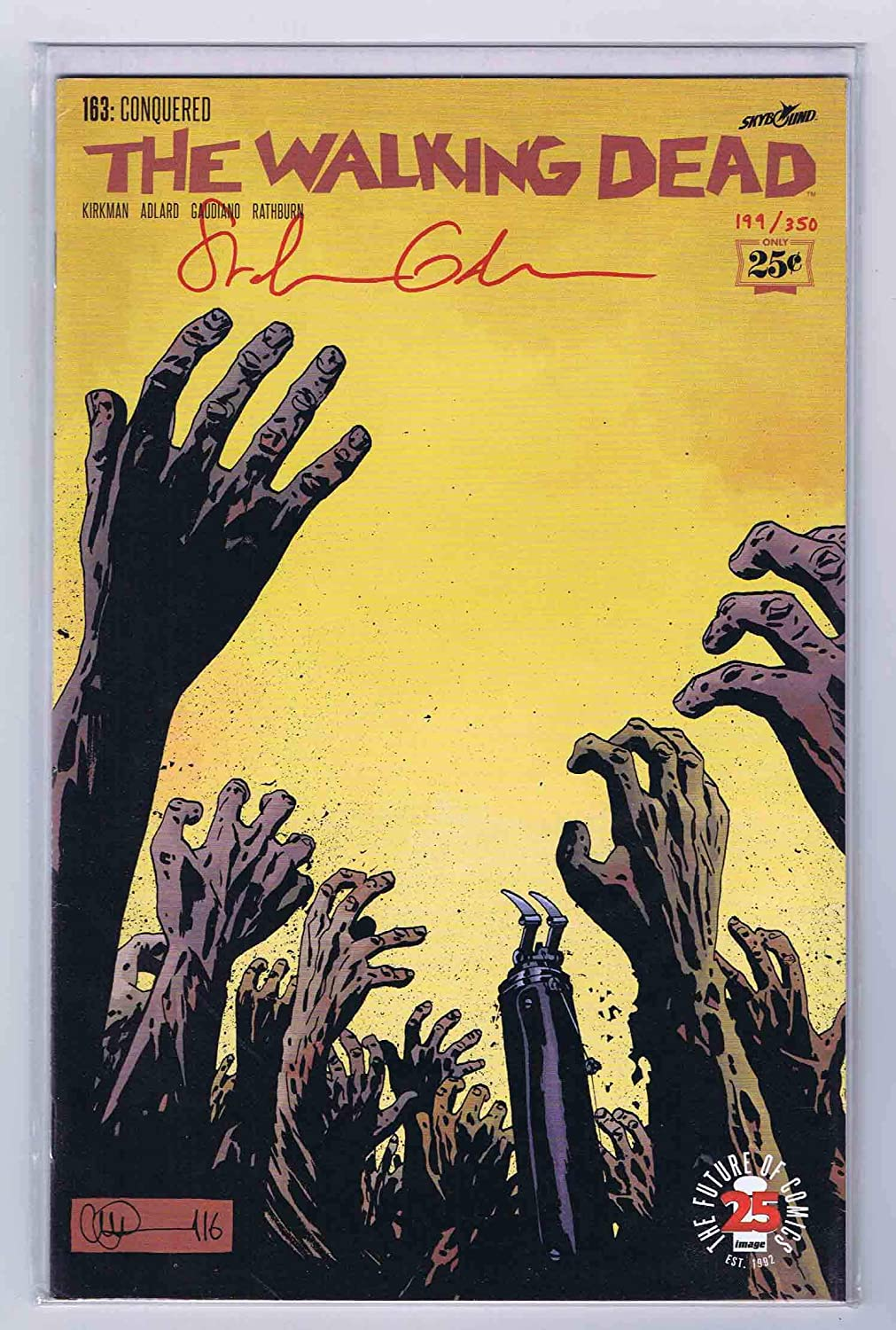 The Walking Dead #163 VF/NM Signed Blood Red Gaudiano w/COA #199/350 DF Sealed Image Comics