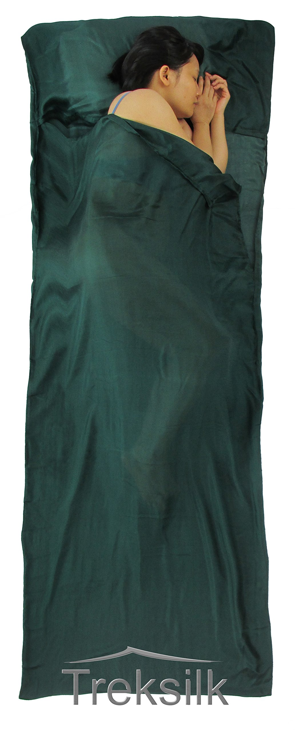 Treksilk: 240 cm! 100% Mulberry Silk Single Sleeping Bag Liner Travel Sheet Sack (Dark Green) by Treksilk