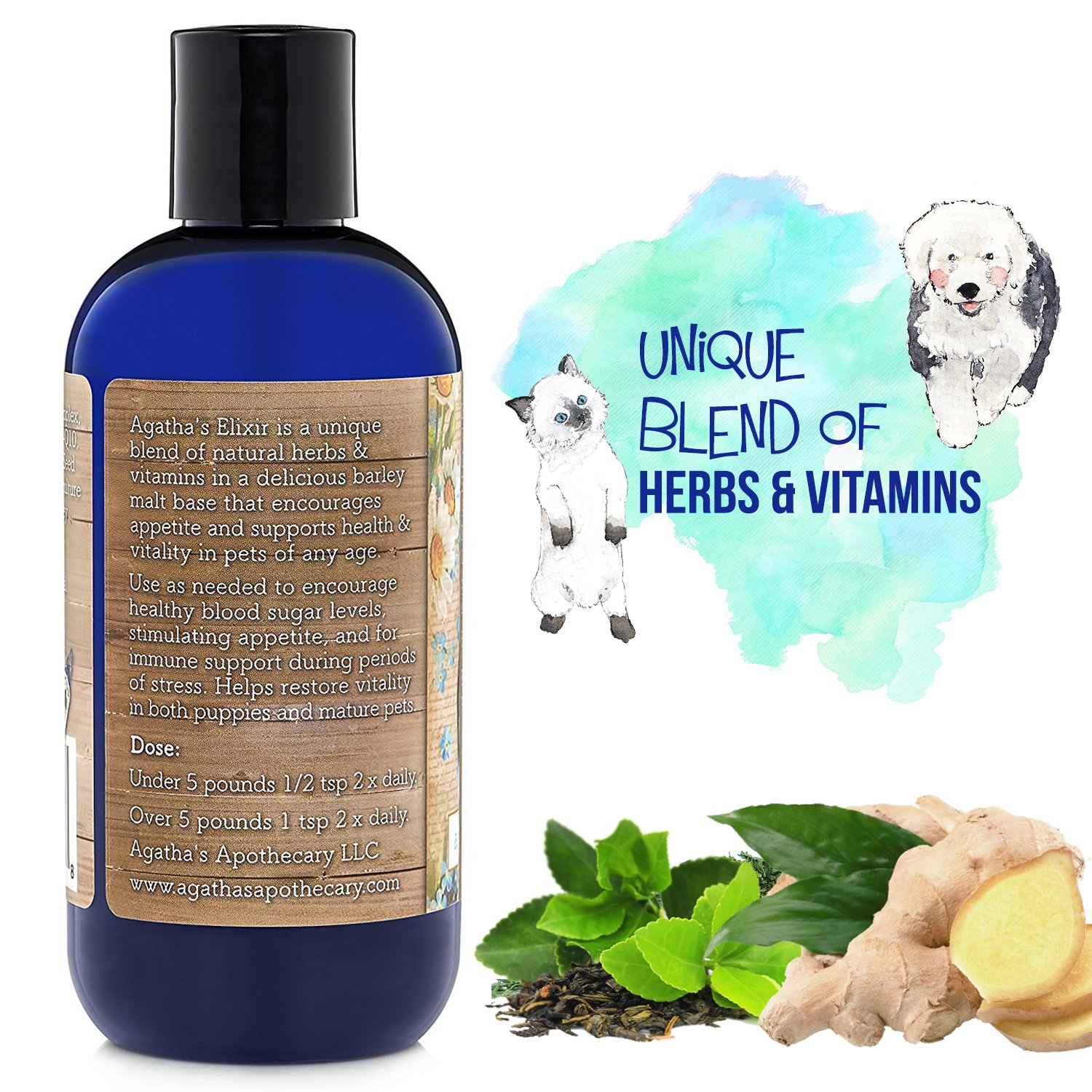 Agatha's Elixir Prebiotics for Dogs ● Appetite Stimulant for Picky Eaters and Senior Pets ● Green Tea & Milk Thistle Boost Immune System, Liver Detoxifier by Agatha's Pet Wellness (Image #3)