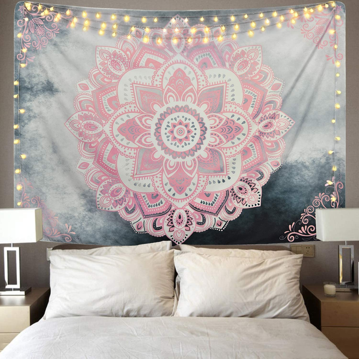 Amazon Com Sevenstars Pink Mandala Tapestry Bohemian Tapestries Hippie Tapestry Floral Medallion Tapestry For Bedroom Home Kitchen