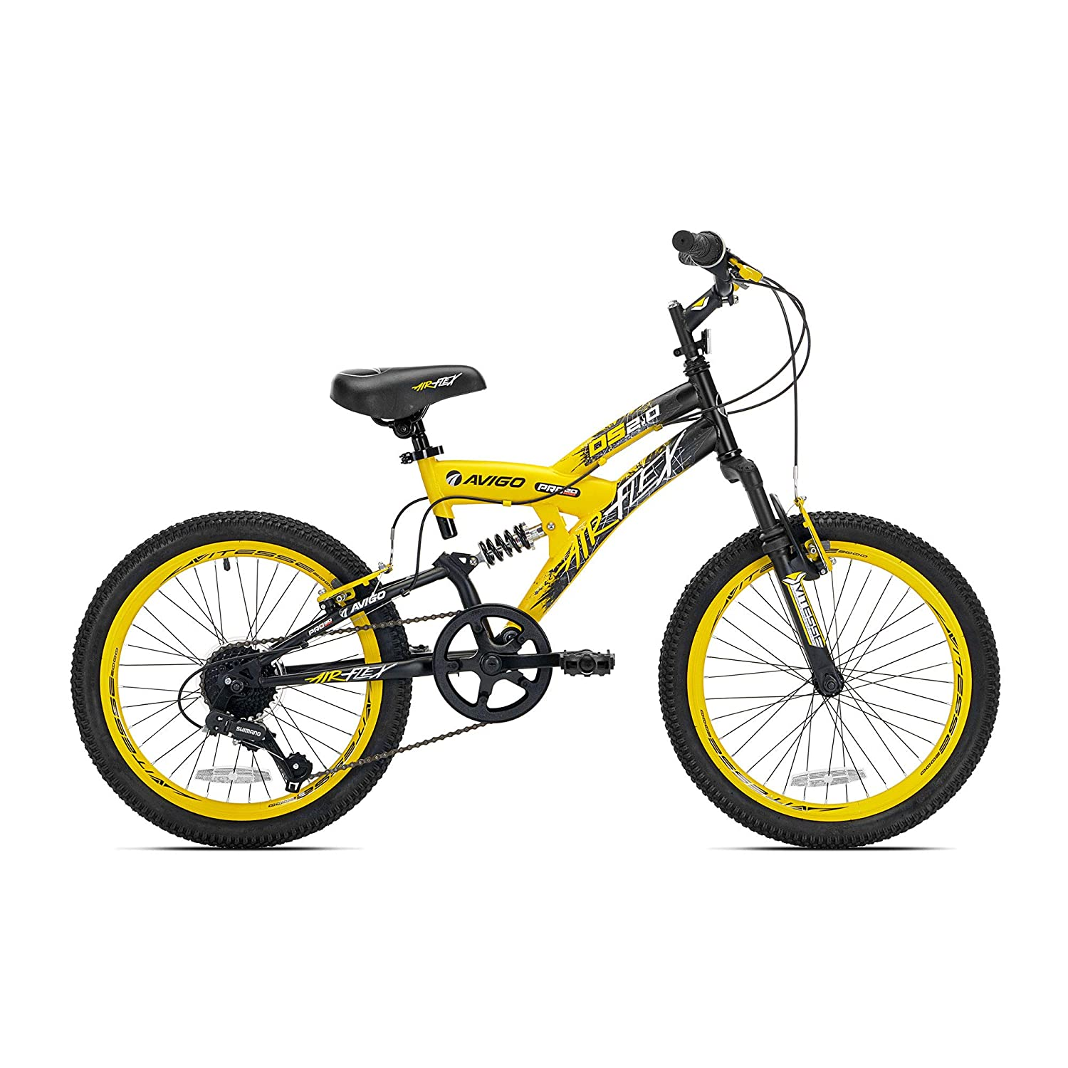 20 Boys Avigo Air Flex Dual Suspension - Yellow Black - Balance Bike - Ride-ons - Outdoor Sports - Air Flex Dual Suspension - Long-lasting Quality and Saving Value - Built with the Latest Bicycle Safety Features