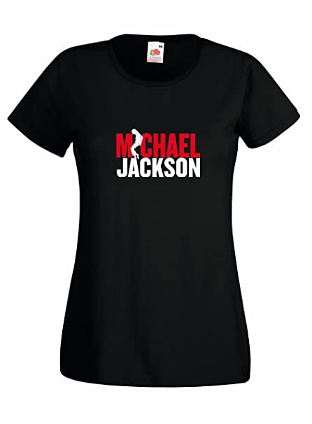 LaMAGLIERIA Camiseta Mujer Michael Jackson - Red and White Logo Camiseta 100% Algodon, S