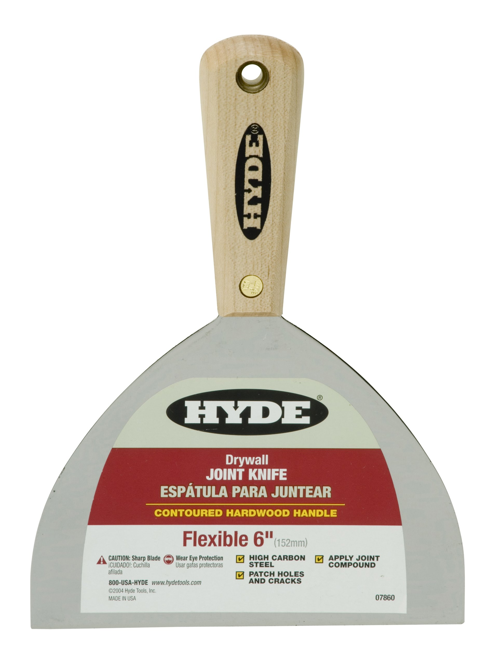 Hyde Tools 7860 6-Inch Flexible Joint Knife with Hardwood Handle